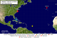 The locations of Tropical Storm Hermine, Post-Tropical Cyclone Gaston and a tropical wave being monitored at 8 a.m. Saturday. (NATIONAL HURRICANE CENTER)