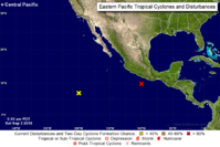 The locations of two systems being monitored in the eastern Pacific Ocean at 8 a.m. Saturday. (NATIONAL HURRICANE CENTER)