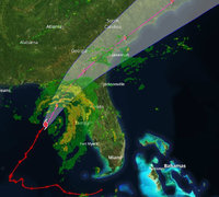The location of Hurricane Hermine and its forecast track at 3 p.m. Thursday. (TCPALM)