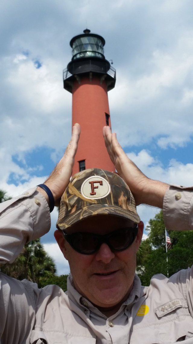 Bob Schooley wears the lighthouse on his head, May 5, 2016, while on an outing to celebrate his 26th wedding anniversary with wife Sandy. She took this photo with her Samsung Galaxy S5. Contributed