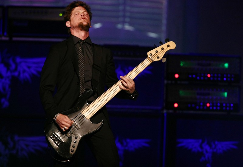 Jason Newsted of Metallica plays at the Rock and Roll Hall of Fame Induction Ceremony on April 4, 2009 in Cleveland, photo