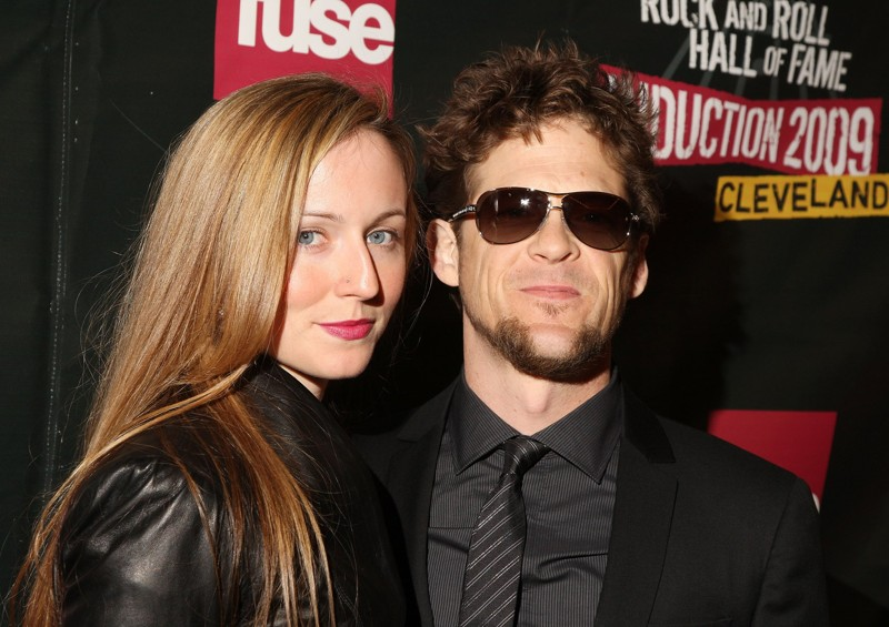 Jason Newsted of Metallica and his wife Nicole, who encouraged him to start painting, at the Rock and Roll Hall of photo