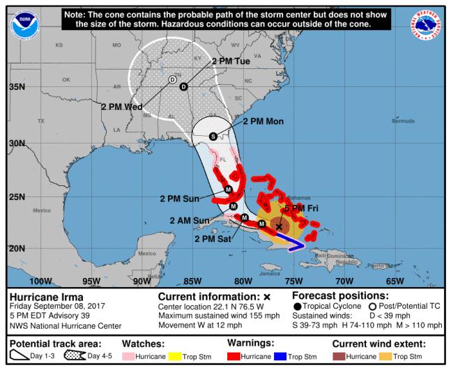 Hurricane Irma track, Hurricane Irma path, Hurricane Irma forecast