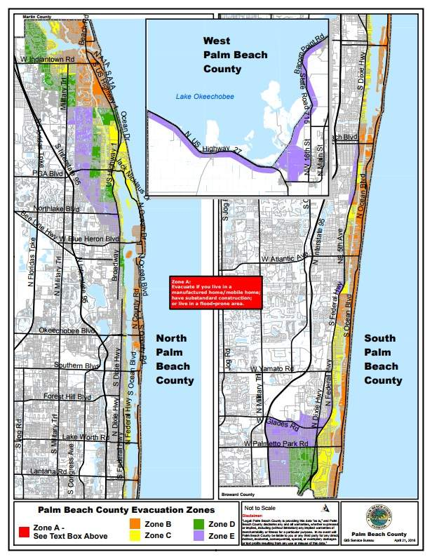 Jupiter evacuation zones, Palm Beach County evacuation, Hurricane Irma Evacuation Zones