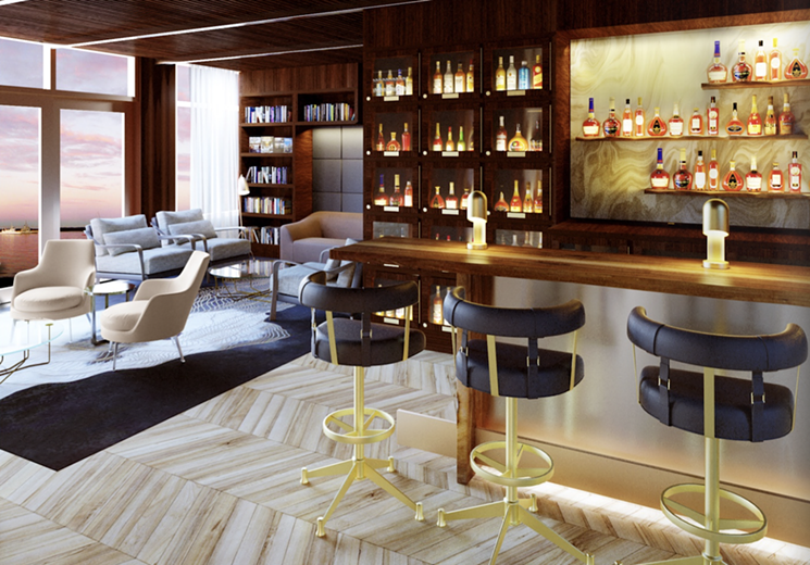 A rendering of 1000 North's private lounge.