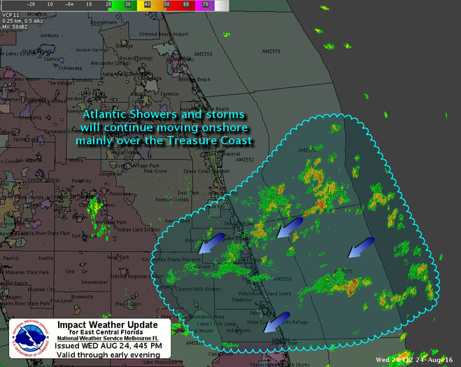 Occasional late-afternoon and early evening heavy downpours will result in as much as one-half to one inch of rainfall in the most intense storms, from Barefoot Bay to the Jupiter Inlet.